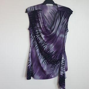 Melanie Lyn sleeveless purple zebra print top